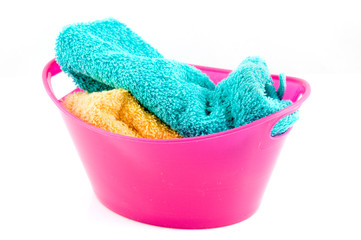 Pink washtub with laundry