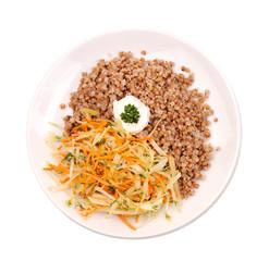 buckwheat kasha with salad
