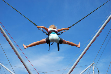young girl  on rope jumping