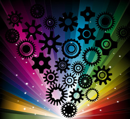 cool background with black gearwheel on rainbow