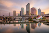Beautiful pink sunrise and reflections in downtown Tampa