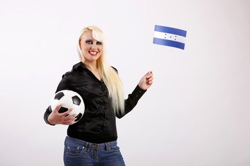 female football / soccer fan with football and flag (Honduras)