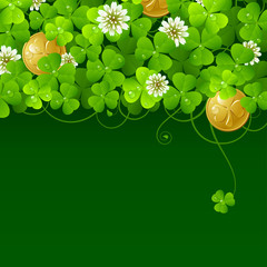 Patrick's Day background: Clover glade and golden coins