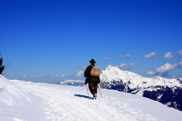 Bergwanderer im Winter