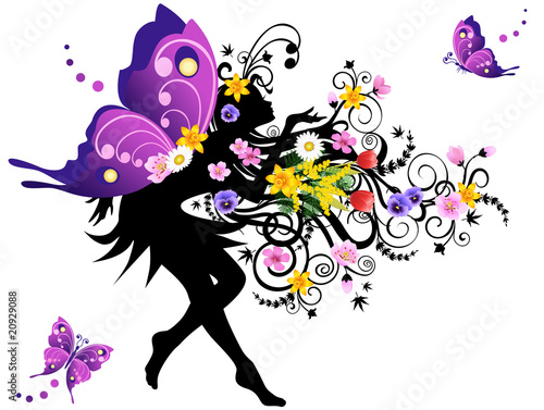 Poster Bloemen vrouw Spring fairy with colorful wings