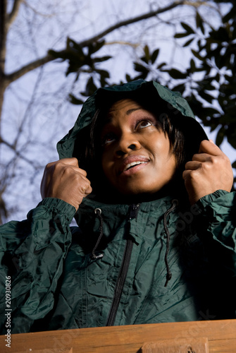 Woman in Raincoat