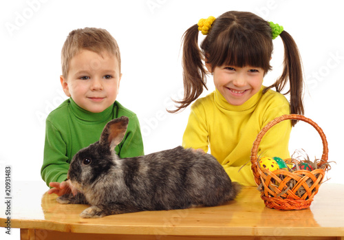 Little children with easter rabbit