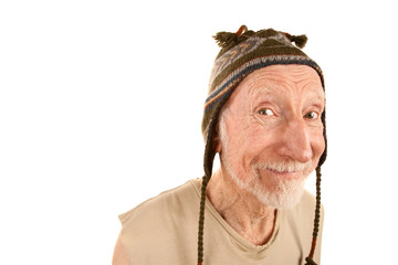 Smiling senior man in knit cap