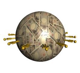 people around Japanese Yen sphere illustration