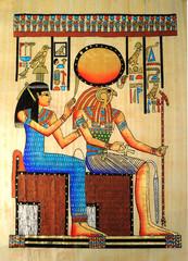 Antico papiro egiziano con Horus e regina