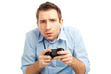 Man playing video games poster