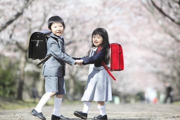 桜並木を歩く小学生男女
