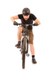 bicyclist on white poster