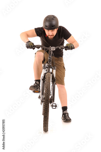 bicyclist on white