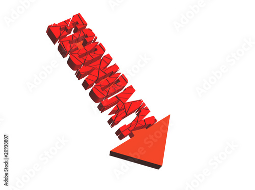 economy-3d illustration of text economy moving downward
