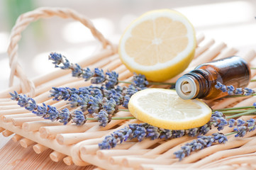 Aromatherapy still life with lavender and lemon