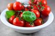 Fresh tomatoes and basil leaves