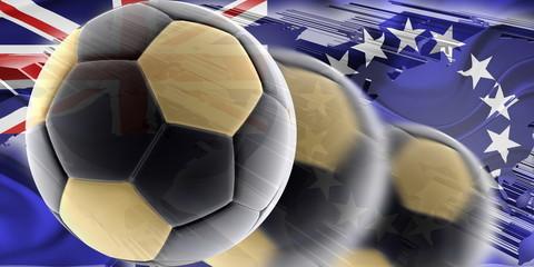 Flag o fCook Islands wavy soccer