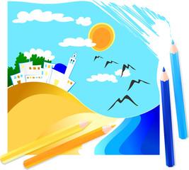 Paesaggio marittimo disegnato