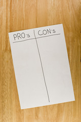 Pro's and Con's List