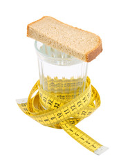 Diet concept, rye-bread and glass of water isolated