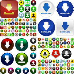Download buttons. Vector great collection.