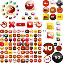 """NO"" button. Vector great collection."