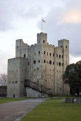 Rochester Castle at dusk, Kent, UK