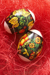Easter eggs in a red nest