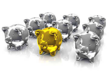 Gold and Silver Piggy Bank
