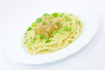 Spaghetti with Meatball and Spring Onions on White Plate