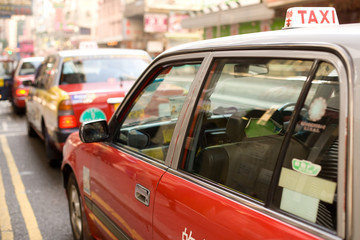 Line of taxis at Hong Kong Island, China