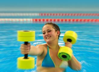 Woman in aqua aerobic