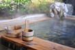 Leinwanddruck Bild - 温泉旅館の露天風呂