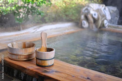 Fotobehang Japan 温泉旅館の露天風呂