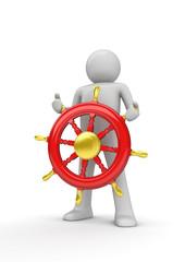 Happy captain steering the wheel