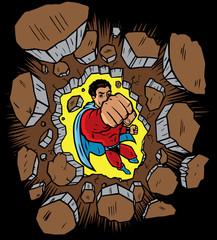 Superhero punching through wall