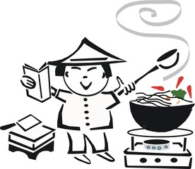 Asian cooking cartoon