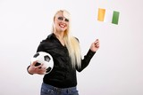 female football/soccer fan with football and flag (Ivory Coast) poster