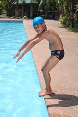 boy ready to dive