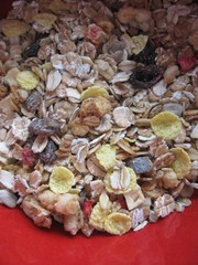 Muesli mix in the red bowl