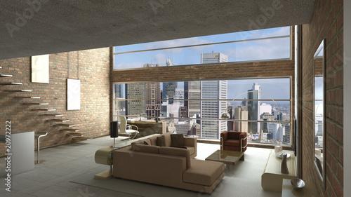 3d render modern loft stockfotos und lizenzfreie bilder auf bild 20972222. Black Bedroom Furniture Sets. Home Design Ideas