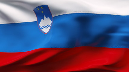Creased slovenia satin flag with visible wrinkle and seams
