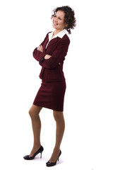 Brunette businesswoman is laughing