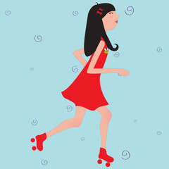 girl riding roller skates
