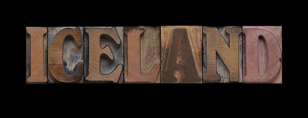 the word Iceland in old letterpress wood type