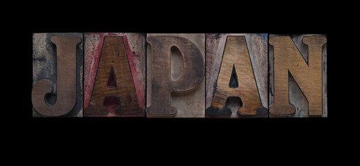 the word Japan in old letterpress wood type