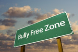 Bully Free Zone Green Road Sign and Clouds poster