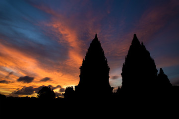 Hindu temple in sunset