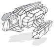 Black and white drawing of spaceship, vector illustration
